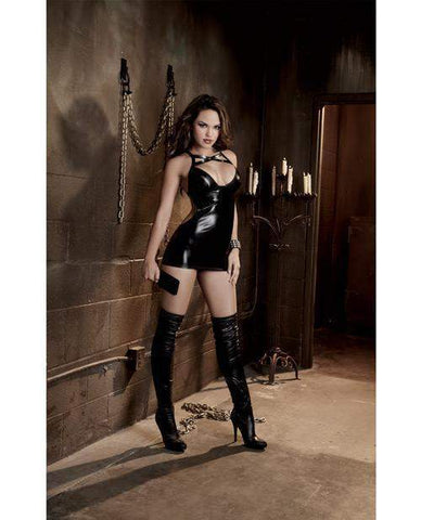Fetish Faux Vinyl Chemise with Spanking Back-lingerie-Dreamgirl-black-one size-Nakees
