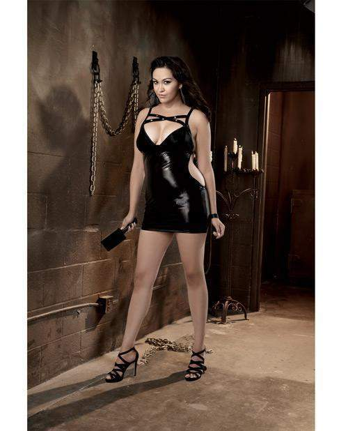 Fetish Faux Vinyl Chemise with Spanking Back lingerie color blacksize queen sizeNakees