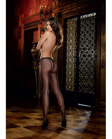 Fishnet Pantyhose with Back Seam-lingerie-Dreamgirl-one size-black-Nakees