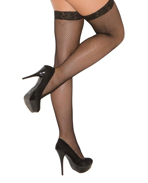 Fishnet Thigh High Stockings with Lace Top lingerie size one sizecolor blackNakees