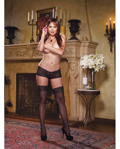 Fishnet Thigh Highs with Lace Top lingerie size one size color black Nakees