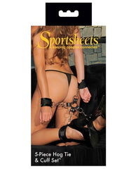 Five Piece Hog Tie and Cuff Set-sex toys-Sportsheets-black-Nakees