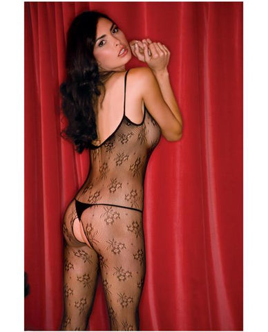 Floral Lace Crotchless Bodystocking-lingerie-Rene Rofe-black-one size-Nakees