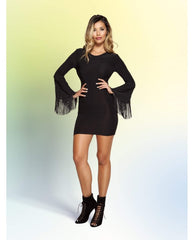 Fringe Sleeved Dress with Open Back club wear Size SmallColor BlackNakees