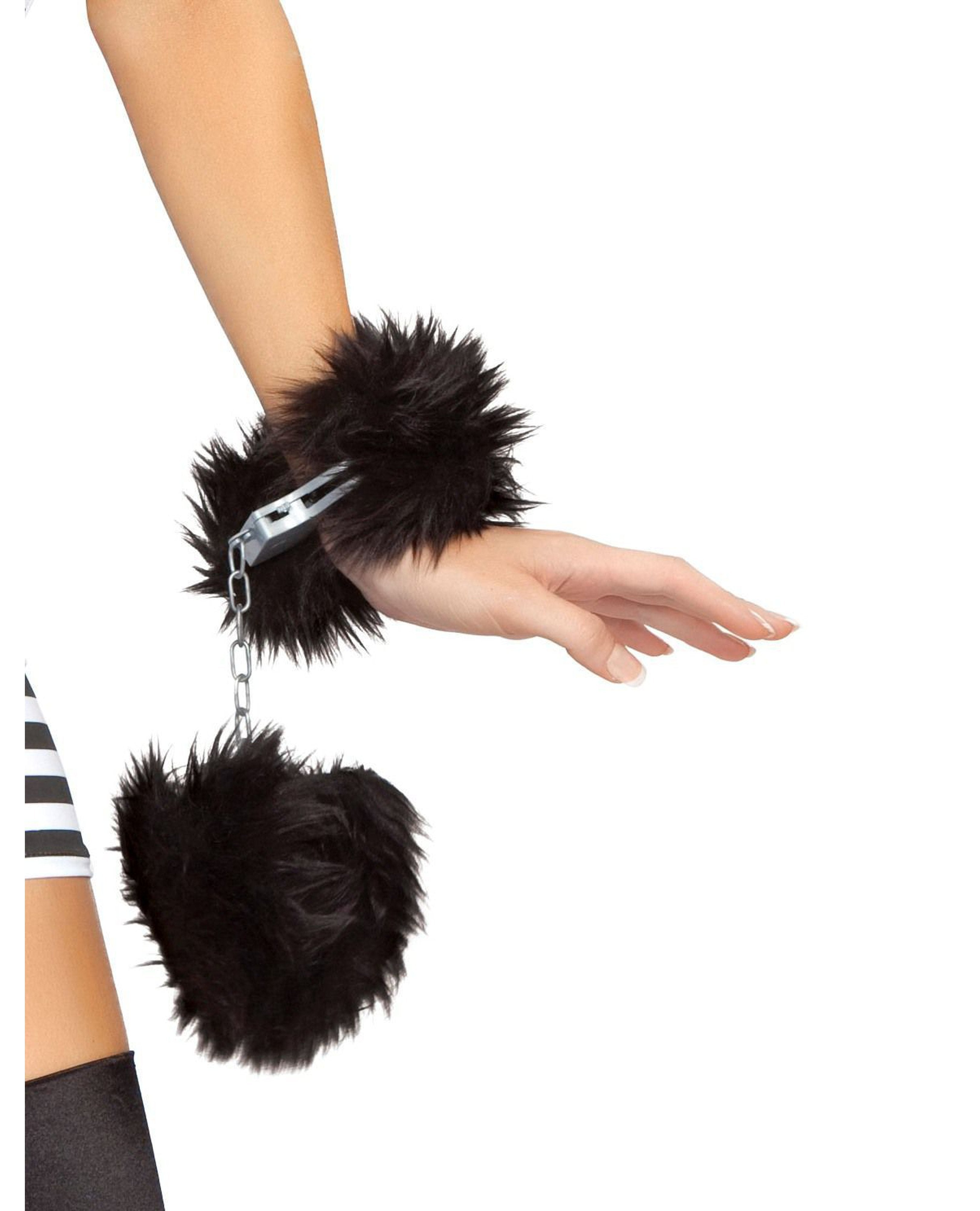 Fur Trimmed Handcuffs-costumes-Roma Costume-O/S-As Shown-Nakees