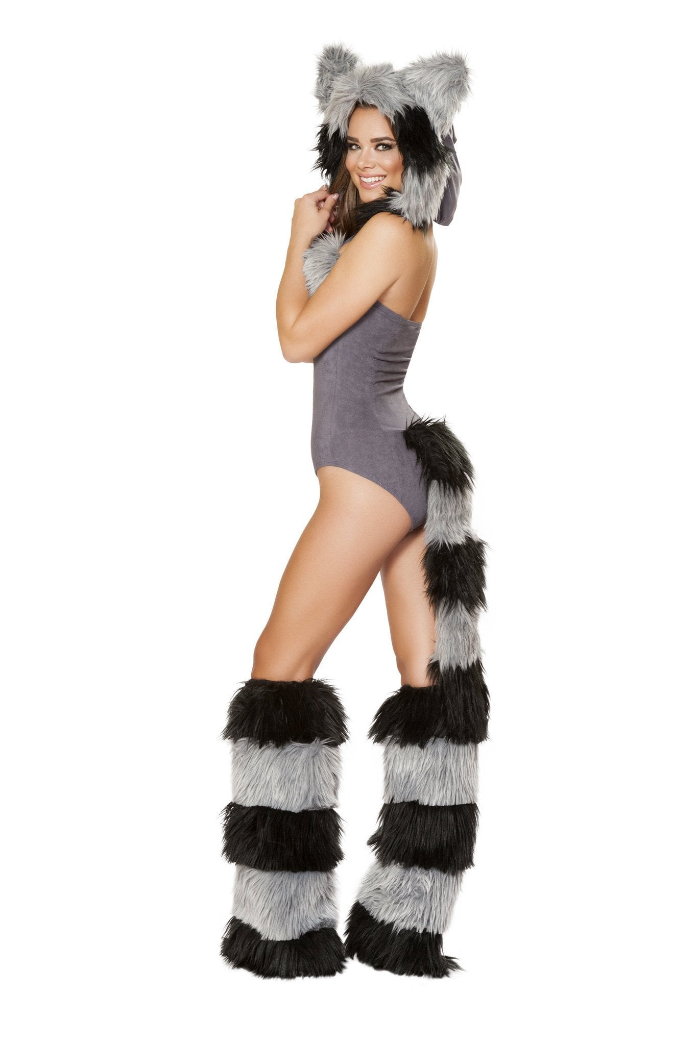 Furry Raccoon costumes Size LargeColor Grey/BlackNakees