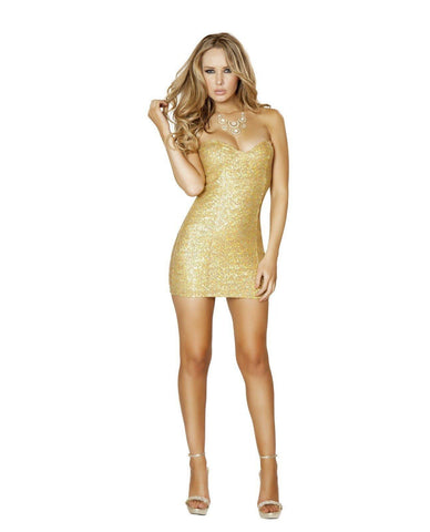 Gold Sequin Mini Dress club wear color gold size small Nakees