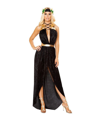 Greek Goddess Costume-Costumes-Roma Costume-S/M-Black/Gold-Nakees