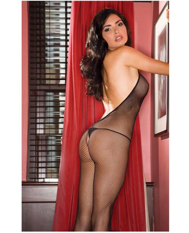 Halter Fishnet Crotchless Bodystocking lingerie color black size one size Nakees