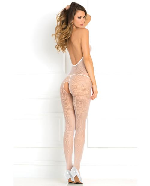 Halter Fishnet Crotchless Bodystocking lingerie color white size one size Nakees