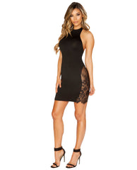 Halter Neck Dress with Eyelash Lace Panels club wear color blacksize smallNakees