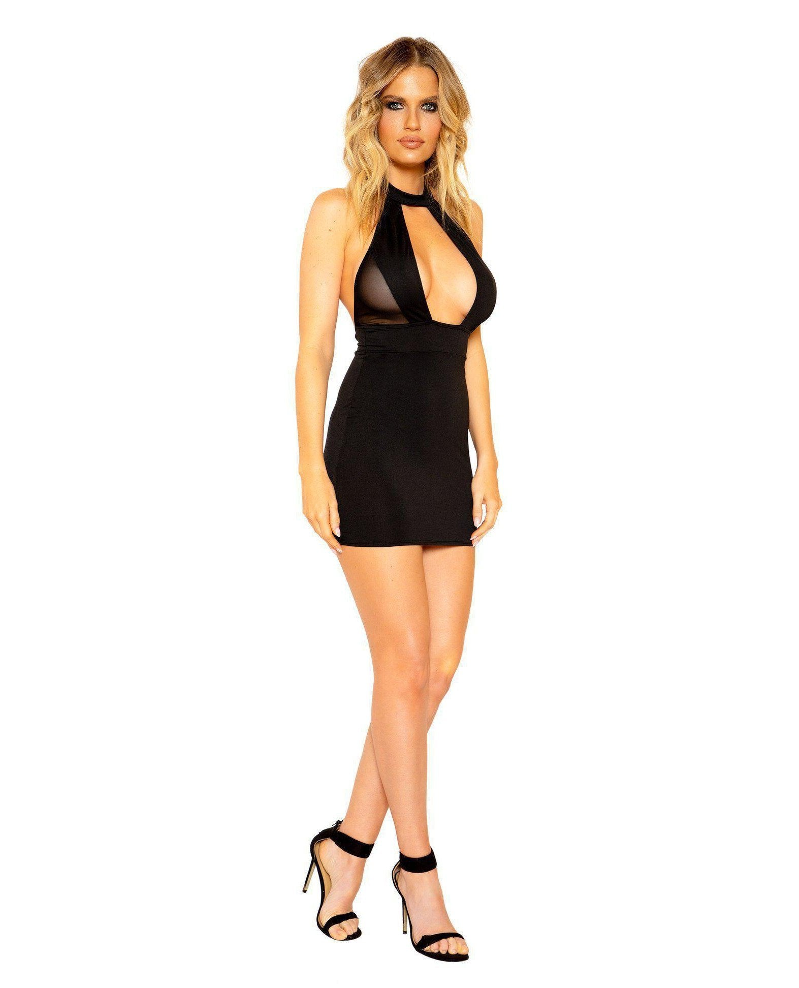 Halter Neck Dress with Large Cutout and Sheer Mesh Detail club wear Size SmallColor BlackNakees