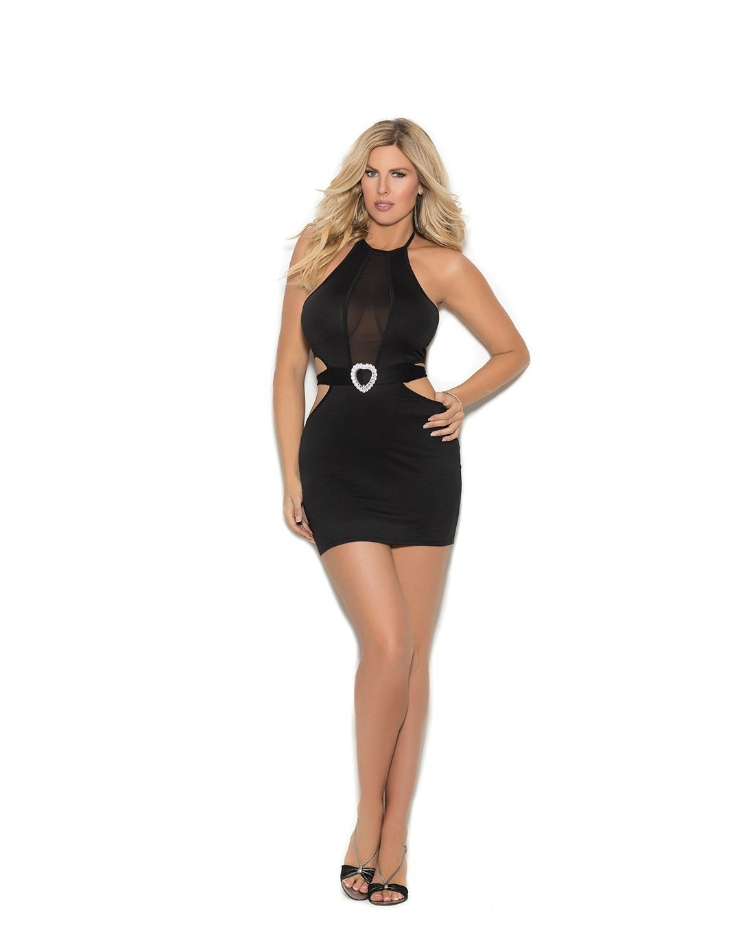 Halter Neck Mini Dress with Attached Heart Belt club wear size smallcolor blackNakees