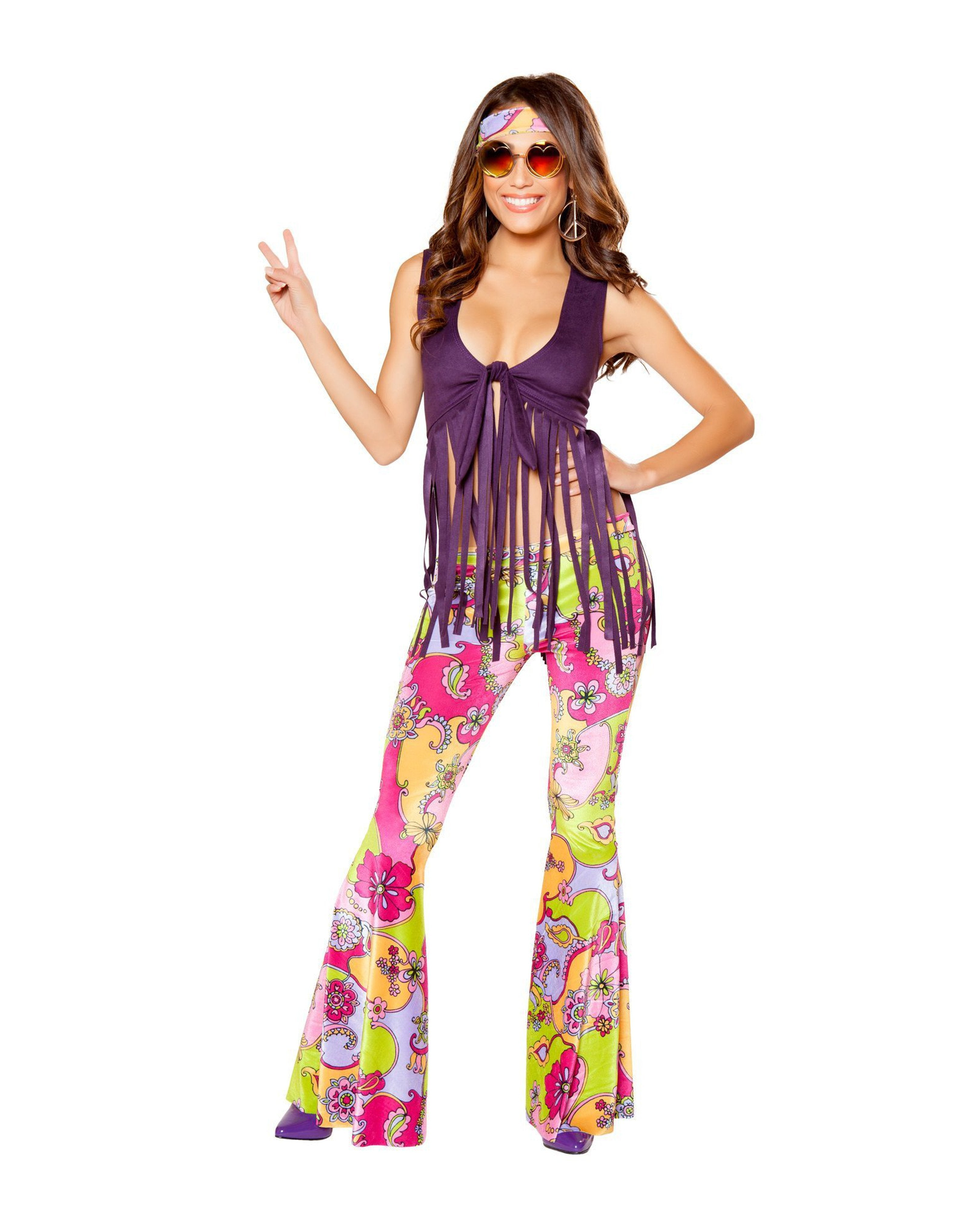 Hippie Lover costumes Size SmallColor Purple/MulticolorNakees