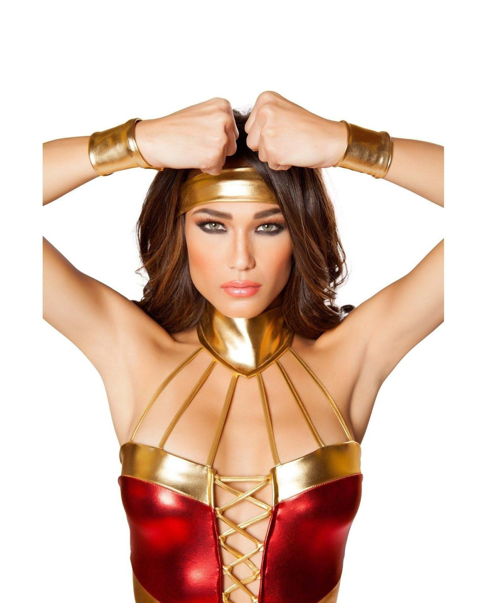 Hot Woman Superhero Costume Costumes Size LargeColor Red/Blue/GoldNakees