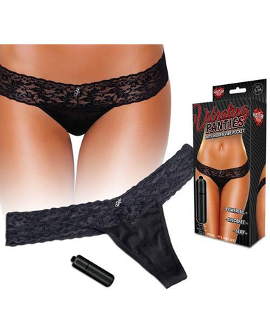 Hustler Vibrating Panties with Hidden Vibe Pocket and Bullet-women-Hustler-medium/large-black-Nakees