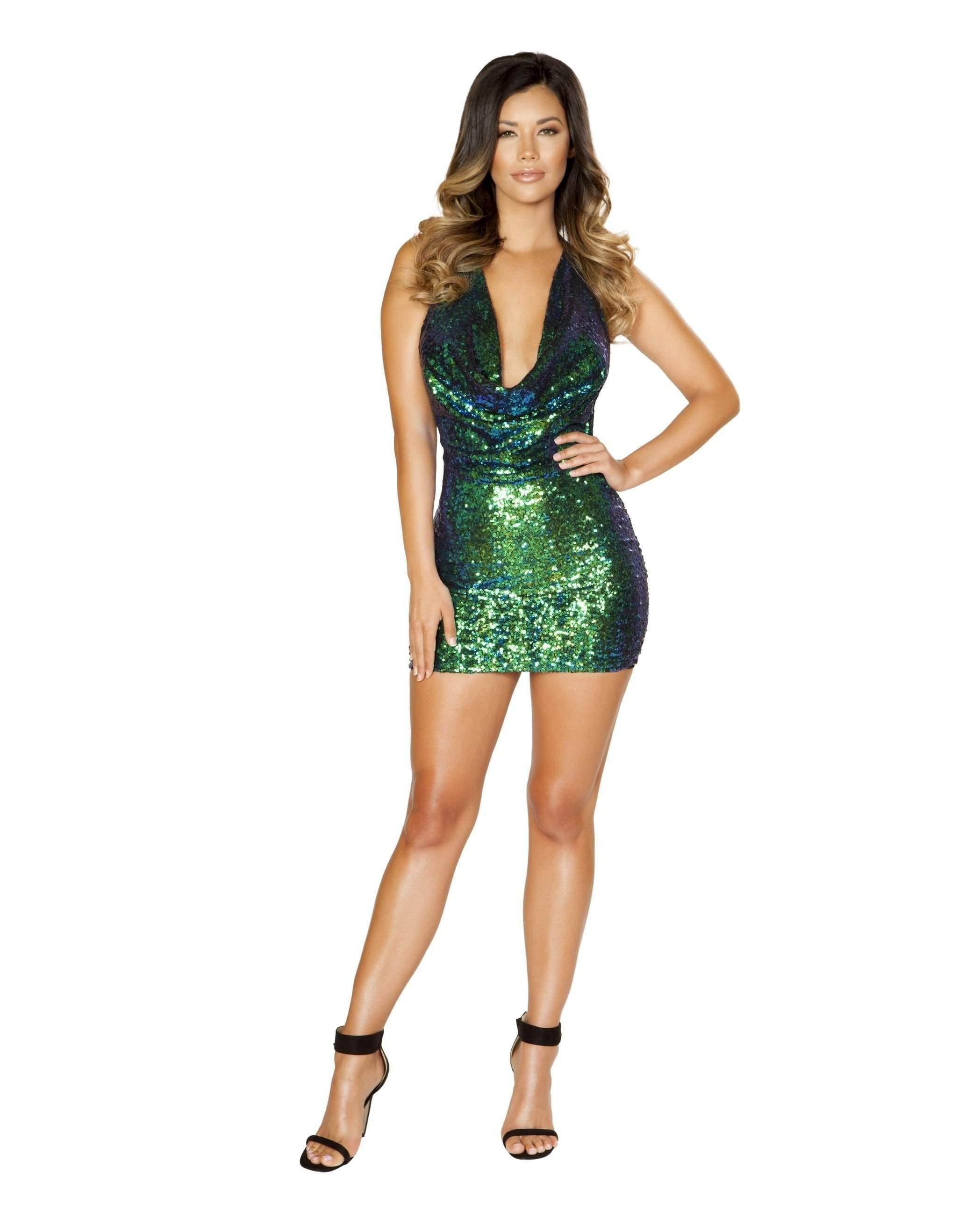Iridescent Sequin Cowl Neck Dress-women-Roma Costume-Green/Blue-Large-Nakees