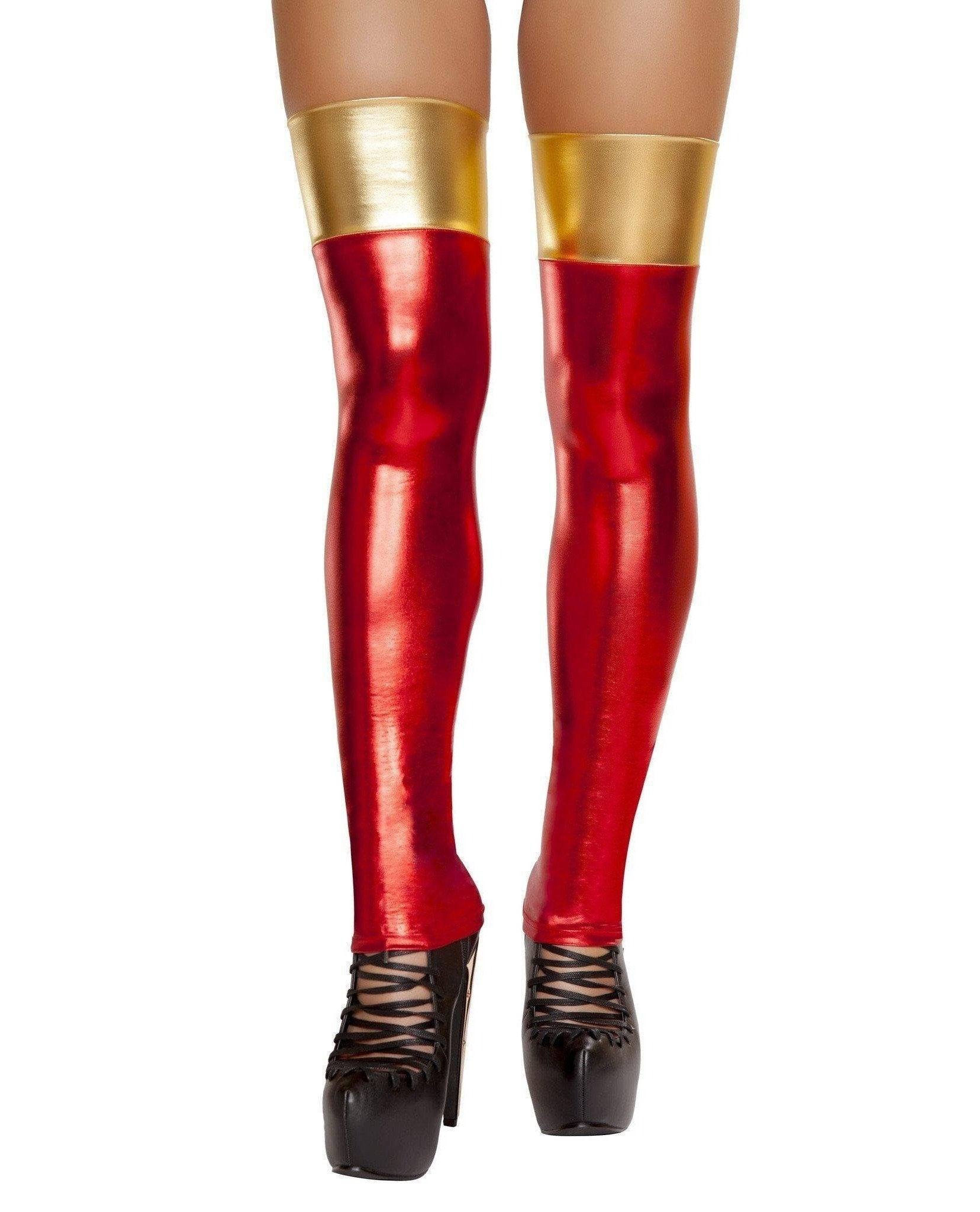 Iron Woman Thigh High Stockings Costumes, accessories Size One SizeColor Red/GoldNakees