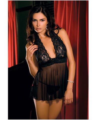 Lace and Mesh Halter Babydoll and G-String lingerie size small color black Nakees