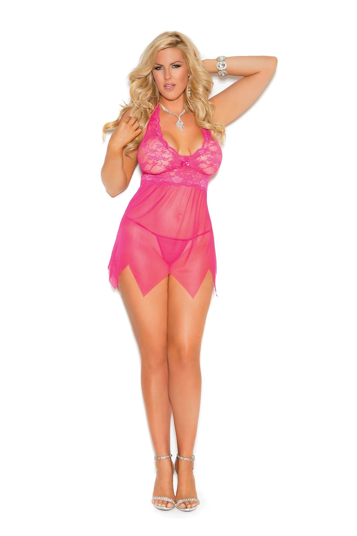 Lace and Mesh Halter Babydoll-lingerie-Elegant Moments-1x-pink-Nakees