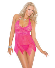 Lace and Mesh Halter Babydoll-lingerie-Elegant Moments-small-pink-Nakees