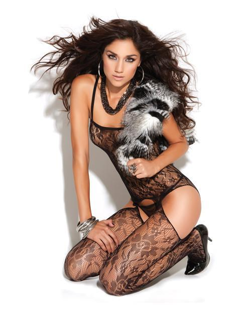Lace Bodystocking with Faux Garters lingerie size one sizecolor blackNakees