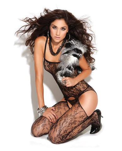 Lace Bodystocking with Faux Garters-lingerie-Elegant Moments-one size-black-Nakees