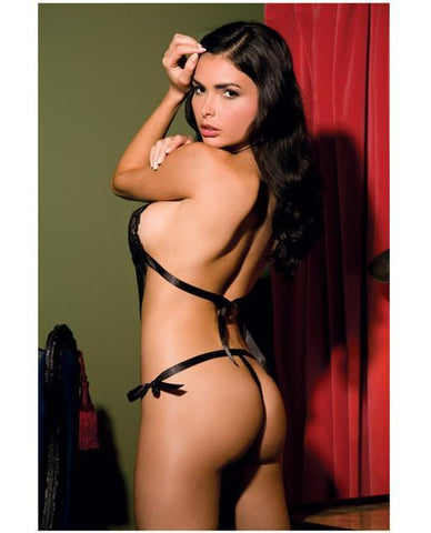 Lace Front Tie Back Teddy-lingerie-Rene Rofe-one size-black-Nakees