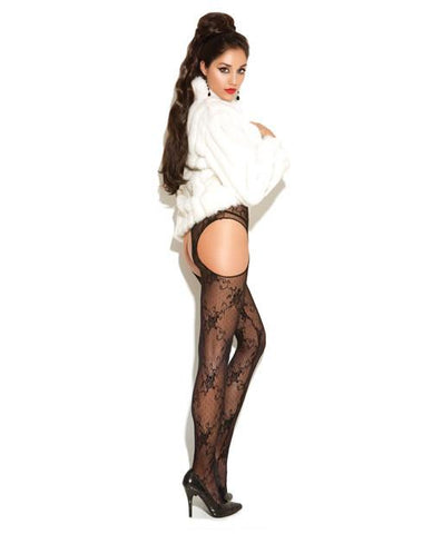 Lace Suspender Pantyhose lingerie size one size color black Nakees