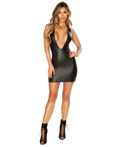 Leather Look Dress with Deep V Cut club wear color black size small Nakees