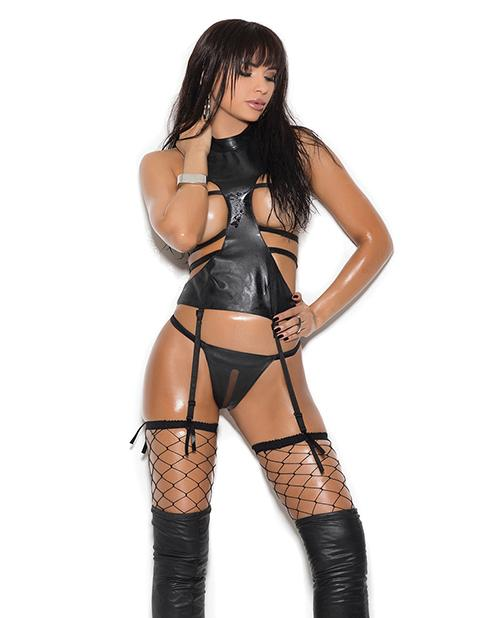 Leather Open Bust Camisette with Matching Crotchless G-String lingerie size smallcolor blackNakees
