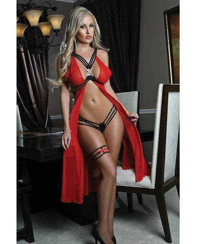Long Butterfly Sheer Gown with Open Strappy Back-lingerie-G World-one size-red-Nakees