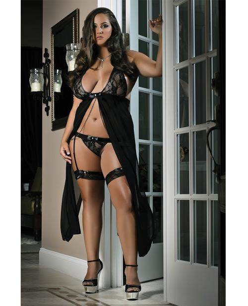 Long Flyaway Dress with Thong and Leg Garters-lingerie-G World-Nakees