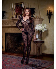 Long Sleeve Bow Design Open Crotch Bodystocking-lingerie-Dreamgirl-Nakees