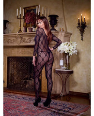 Long Sleeve Bow Design Open Crotch Bodystocking lingerie size queen color black Nakees