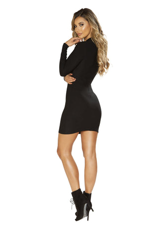 Long Sleeve Dress with Cutout Detail-club wear-Roma Costume-Nakees