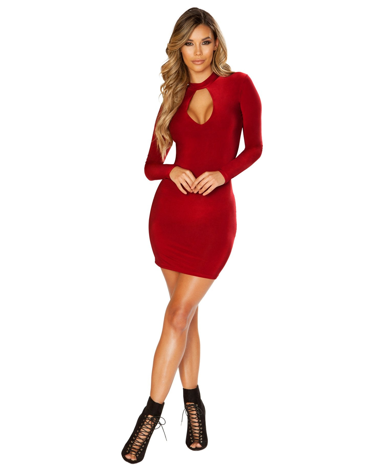 Long Sleeve Dress with Keyhole Cutout-club wear-Roma Costume-red-small-Nakees