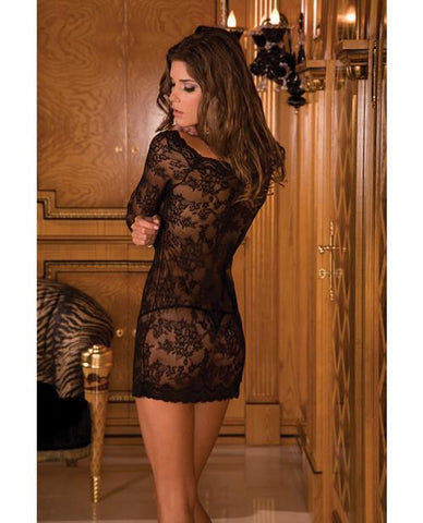 Long Sleeve Lace Chemise Dress-lingerie-Rene Rofe-black-one size-Nakees