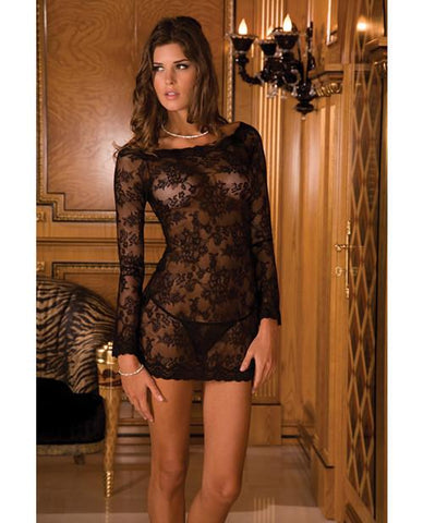 Long Sleeve Lace Chemise Dress-lingerie-Rene Rofe-Nakees