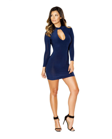 Long Sleeve Mini Dress with Cutout Details club wear color navy size small Nakees