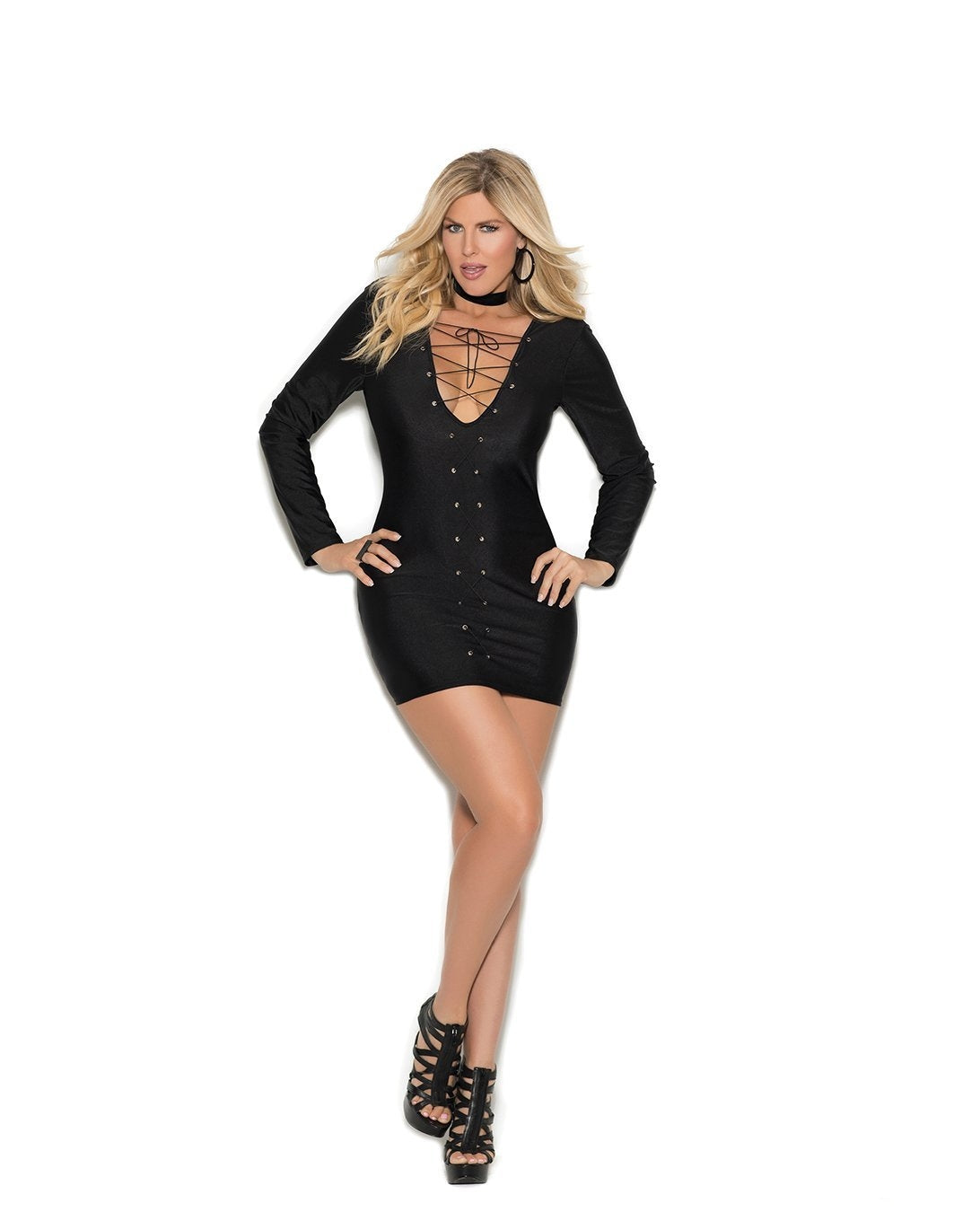Long Sleeve Mini Dress with Lace Up Front-club wear-Elegant Moments-1x-black-Nakees