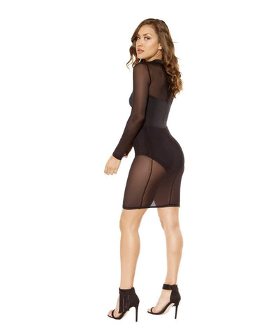 Long-Sleeved Cutout Dress-club wear-Roma Costume-Nakees