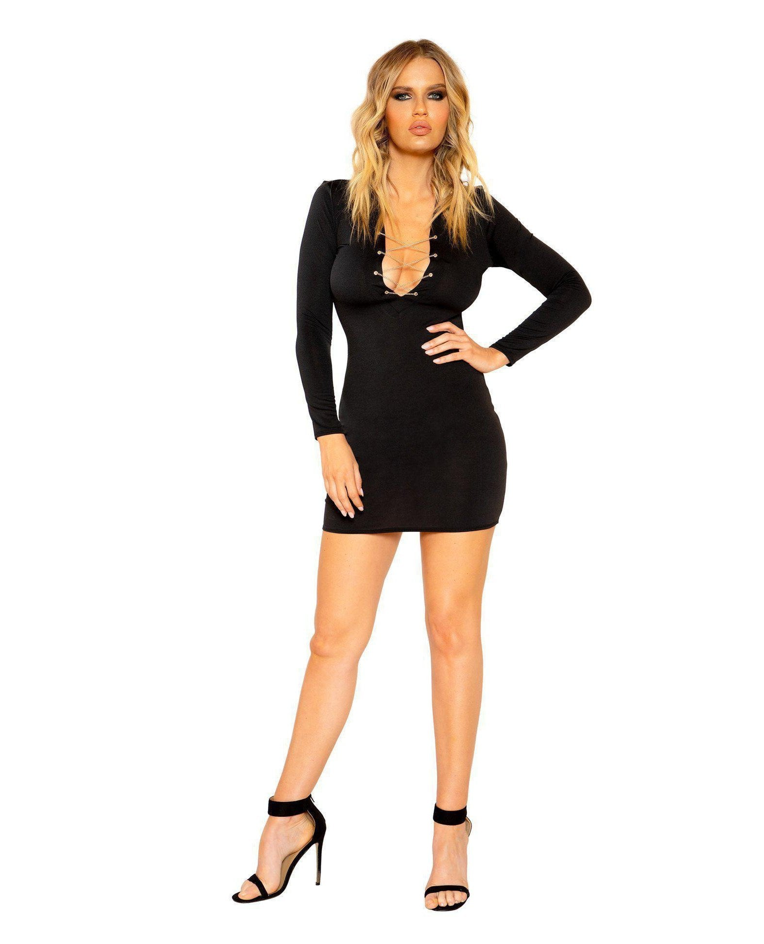 Long Sleeved Dress with Lace-up Chain Detail club wear Size SmallColor BlackNakees