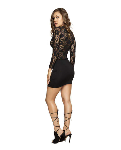 Long Sleeved Lace Dress with Zipper Closure-club wear-Roma Costume-Nakees