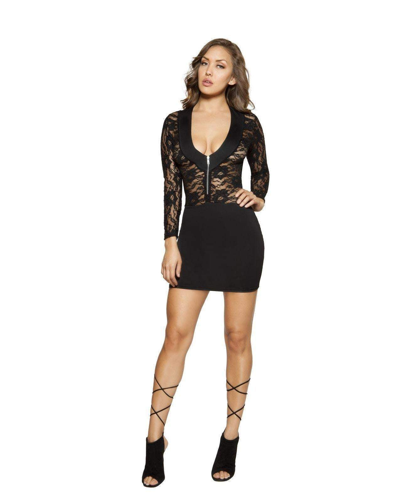 Long Sleeved Lace Dress with Zipper Closure-club wear-Roma Costume-small-black-Nakees