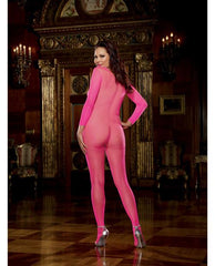 Long Sleeved Open Crotch Bodystocking-lingerie-Dreamgirl-queen-neon pink-Nakees
