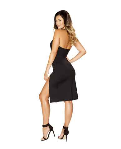 Low Cut Dress with High Side Slits-club wear-Roma Costume-Nakees