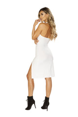 Low Cut Neck Dress with High Slits club wear color whitesize smallNakees