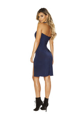 Low Neck Dress with High Slit Detail club wear color bluesize smallNakees
