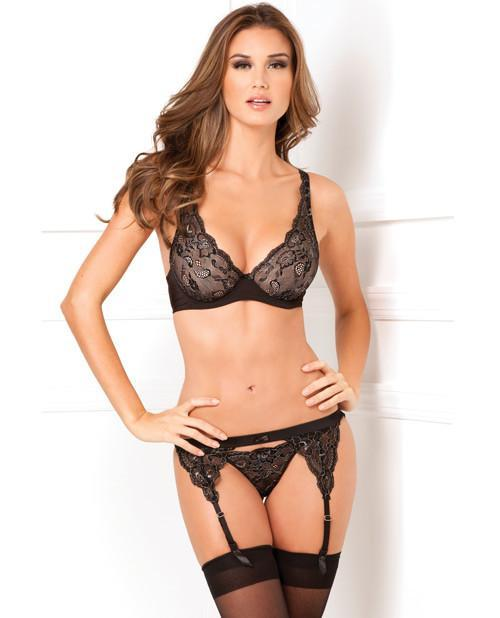 Lux Lace Bra, Thong, and Garter Set-lingerie-Rene Rofe-small/medium-black-Nakees